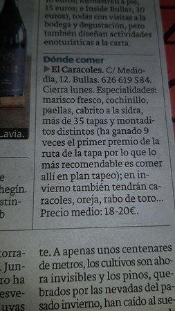 Bullas, Spagna: Dónde comer.