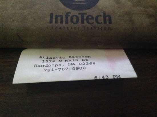 Randolph, MA: copy of my receipt