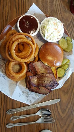 Owatonna, MN: BBQ Beef Brisket Sandwich Basket with onion rings