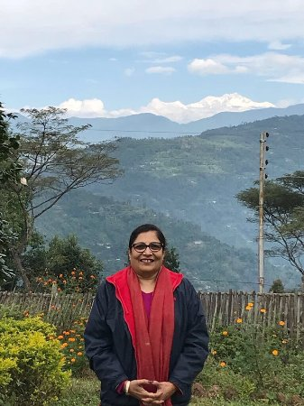 Tumsong Tea Retreat: Lovely resort and right opposite u can see our great Kanchenjunga range