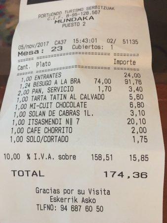 Restaurante Asador Portuondo: 91 € por un besugo a la plancha para 2, sin informar previamente