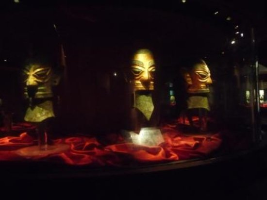 Guanghan, China: Masks at Sanxindui Museum, near Chengdu