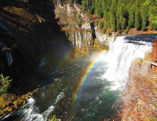 Ashton, ID: Double rainbow at Upper Mesa Falls