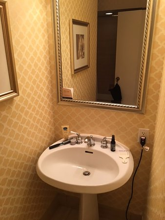 Omni Shoreham Hotel: The cubby hole for the bathroom sink...definitely an elbow bumper!
