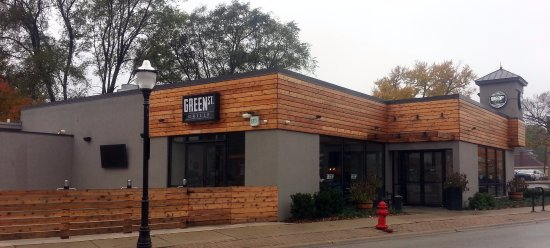 Bensenville, IL: front of, entrance to & outdoor patio at Green St. Grille