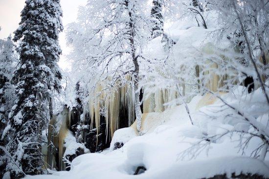 Salla, Finlandia: Ice wall along the snowshoe walk