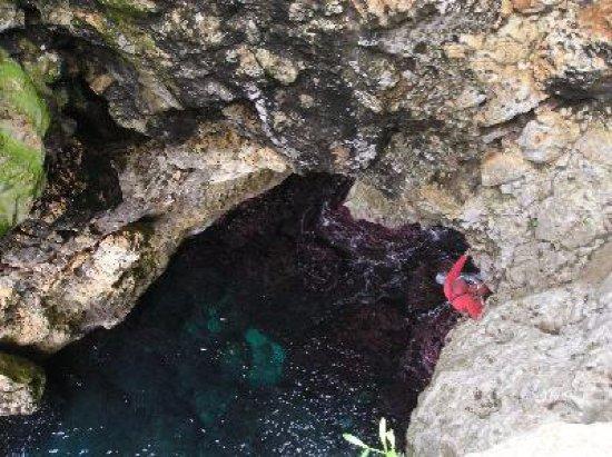 Gagliano del Capo, Italy: Grotta Grande del Ciolo o Bocca del Pozzo: foro nella parte alta da dove poteri calare