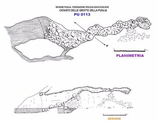 Gagliano del Capo, Italy: Planimetria e sezione della Grotta Grande del Ciolo: Catasto delle Grotte della Puglia
