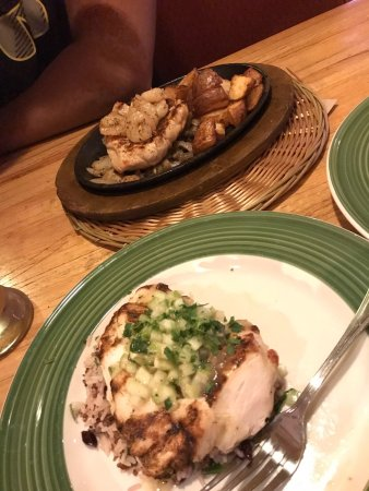 Hawthorne, NY: Cedar Grilled Lemon Chicken and Bourbon Street Chicken and Shrimp with a blue moon beer and whit
