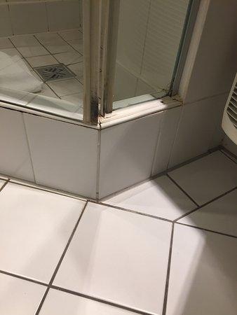 Mercure Hotel Duesseldorf City Center: Verschimmelte Dusche, Löcher in den Gardinen, Wände schmutzig