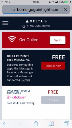 Delta Air Lines Free Wifi For Texting
