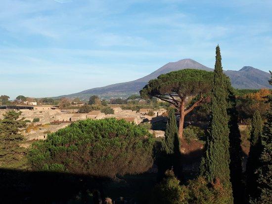 Hotel del Sole 4 stelle: Vista su Vesuvio e scavi di Pompei dalla sala colazione dell'hotel