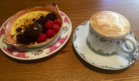 Potomac, MD: Fruity and chocolate flan plus cappuccino
