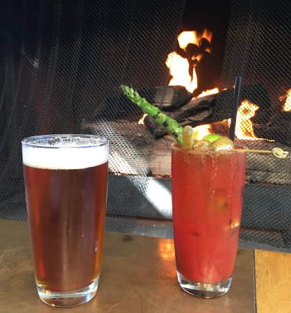 Seasons in the Park: Bloody Mary and Beer in front of the fire....perfect.