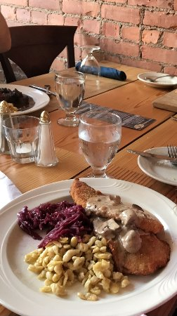 New Milford, CT: Chicken Schnitzel with Rahm gravy, Red Cabbage and Spatzle