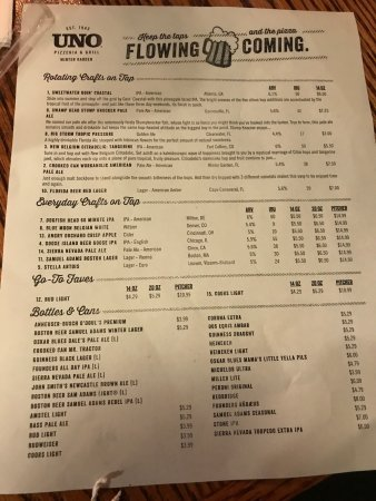 Check out the full menu for UNO Chicago Grill. When available, we provide pictures, dish ratings, and descriptions of each menu item and its price. Use this menu information as a guideline, but please be aware that over time, prices and menu items may change without being reported to our site/5(16).
