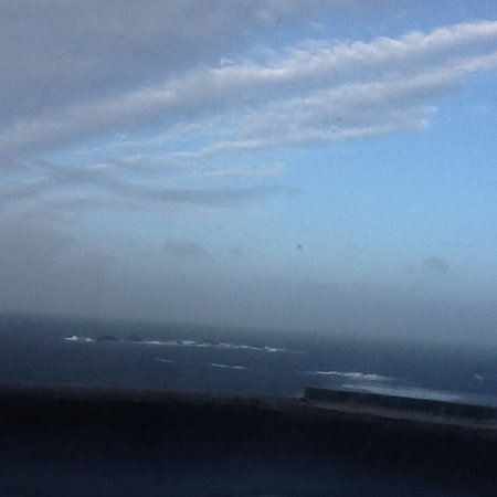 The Land's End Hotel: Wild seas from the bedroom window.