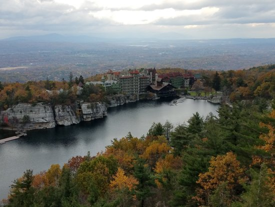 Mohonk Mountain House: view from one of the many walking paths on the grounds