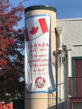 Canada 150 Celebration banner Bard to Boardway Theater, 110 2nd Avenue, Qualicum Beach, BC