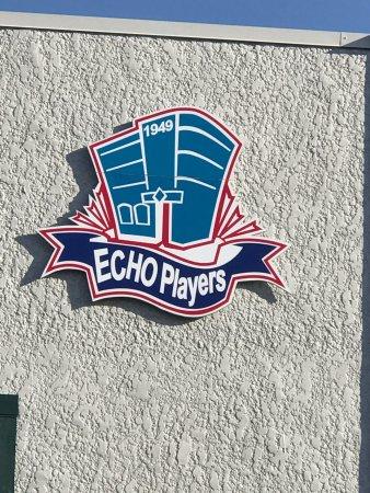 Echo Players logo emblem, Bard to Boardway Theater, 110 2nd Avenue, Qualicum Beach, BC
