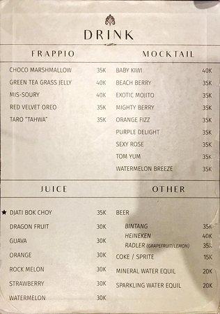 Djati Lounge Menu Picture Of Djati Lounge Malang Tripadvisor