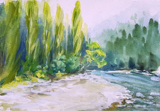 Oxford, Nuova Zelanda: Painting of Ashley River, just a few steps from Ashley Gorge Holiday Park (by Anne (Anica) Amphl