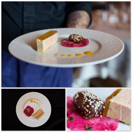 Chateau d'Artigny - Restaurant l'Origan : ressé de foie gras, mariné au Muscat, Datte Medjool au vinaigre de Xérès et sésame grillé