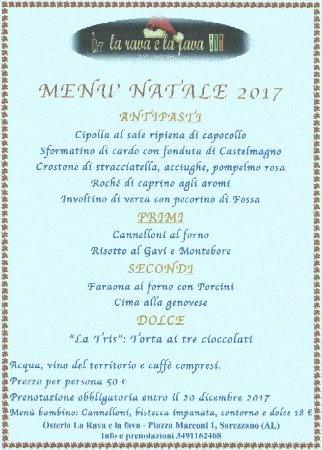 Sarezzano, Italy: Menù pranzo di Natale 2017