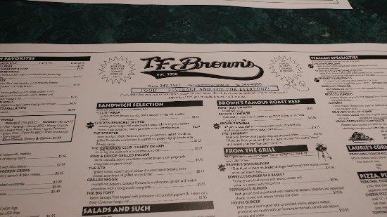Batavia, NY: portion of menu