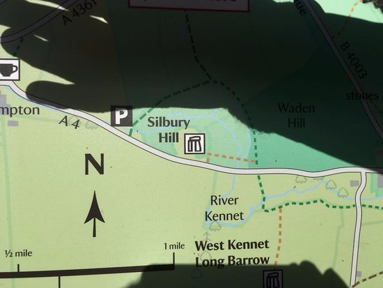 Nat Trust map at Avebury showing the location on A4