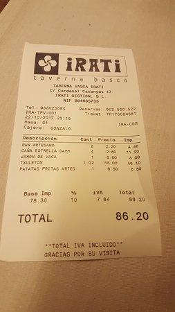Irati Taverna Basca: Cuenta de cena para 2 personas