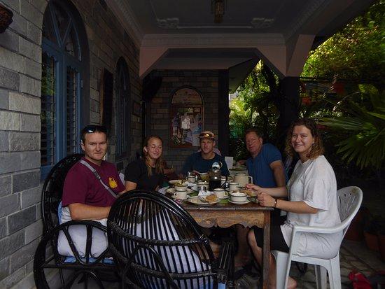 Sacred Valley Inn Pokhara: Having breakfast....