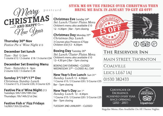 Thornton, UK: Our Christmas promotional Postcard - collect at the pub today!