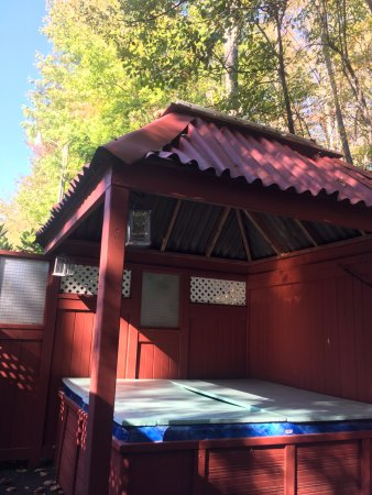 Chalet Motel & Apartments: Private hot tub and patio for cottage room