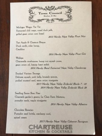 Neenah, WI: This was the menu for the Harvest Collaboration Dinner on November 5th (not their regular menu).