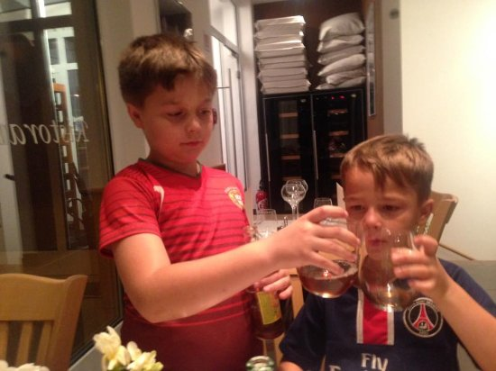 Livange, Luxembourg : My youngest lads enjoying pizza