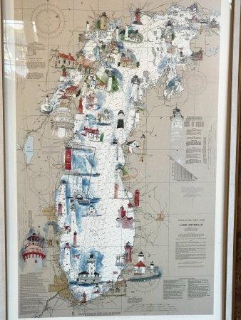 Sturgeon Bay, WI: Map of Lake Michigan Lighthouses