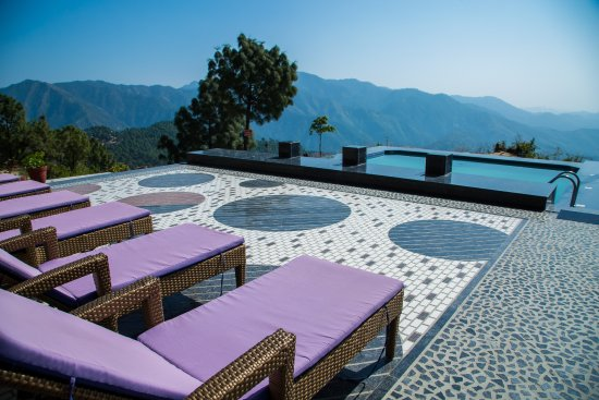 Pool View With Benches Picture Of Blue Pine Resort Lansdowne Tripadvisor