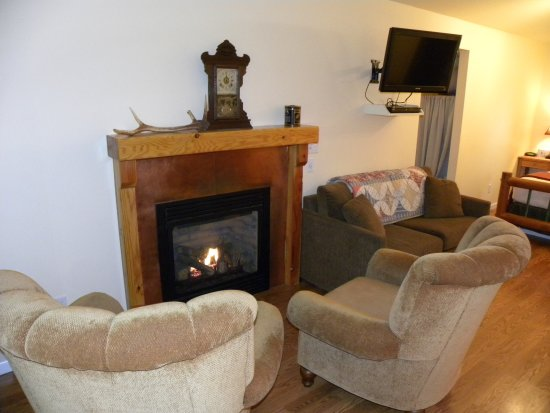 Warm fireplace w/ cozy chairs - Picture of The Cabins at ...