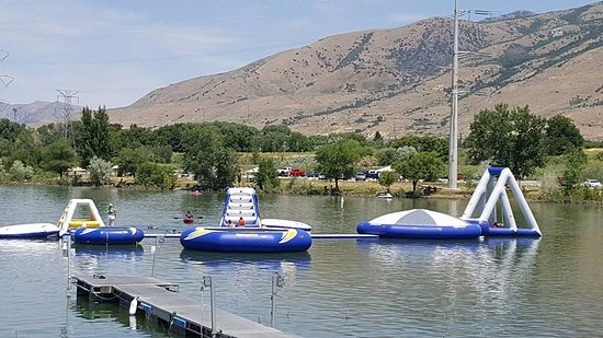 Eden, UT: infalatable water park at Willard Bay