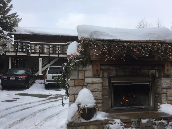 Frisco, CO: Warm up by the outdoor fireplace