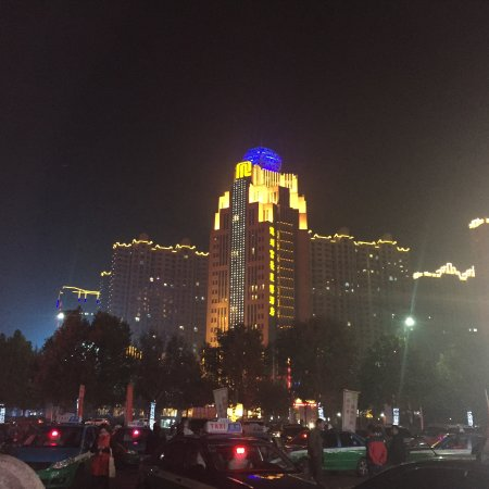 Dezhou, China: View from Mall parking lot across the street from hotel.