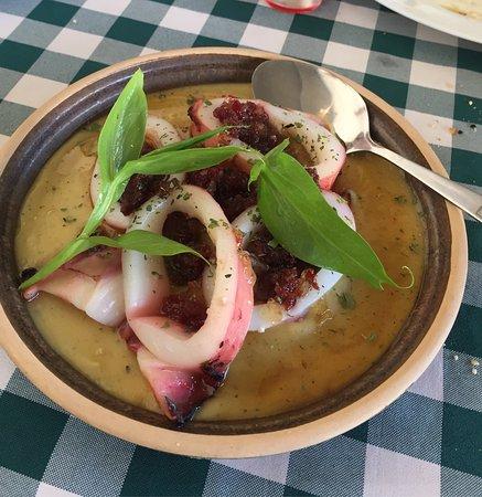 Tersefanou, Cyprus: Fava, squid and pastourma! So yummy!