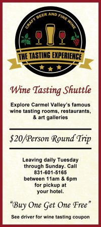 The Tasting Experience: We have a shuttle service direct to our tasting room