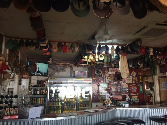 Tennant Creek, Australia: Bar area with decorative hats