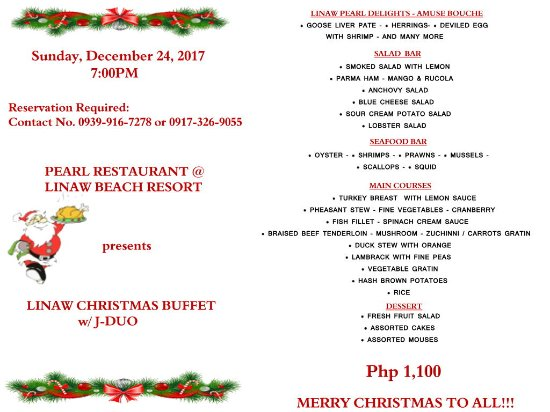 Pearl Restaurant at Linaw Beach Resort: 0 - 6 years old - FREE 7 - 14 years old - 50% 15 years old & above - FULL pay