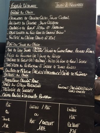 Au Diable des Plaisirs : menu