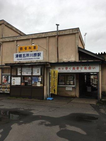 Goshogawara, Japón: 駅には職員は誰もいなくて、車掌の女性と運転手二人で、ハロウィンの飾り付けや津軽線グッズの販売や沿線の紹介を頑張っていて好感が持てました。