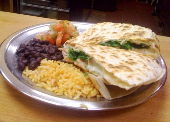 Amherst, MA: Cheese quesadilla with fresh spinach