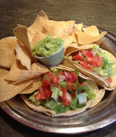 Amherst, MA: fish tacos with chips and guac